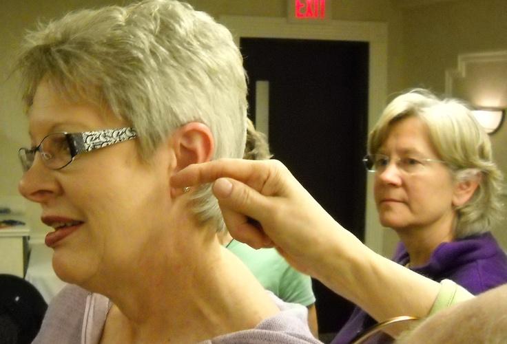 Learning location of Master Endocrine Point (Anterior Pituitary reflex). Ear Reflexology. www.AmericanAcademyofReflexology.com