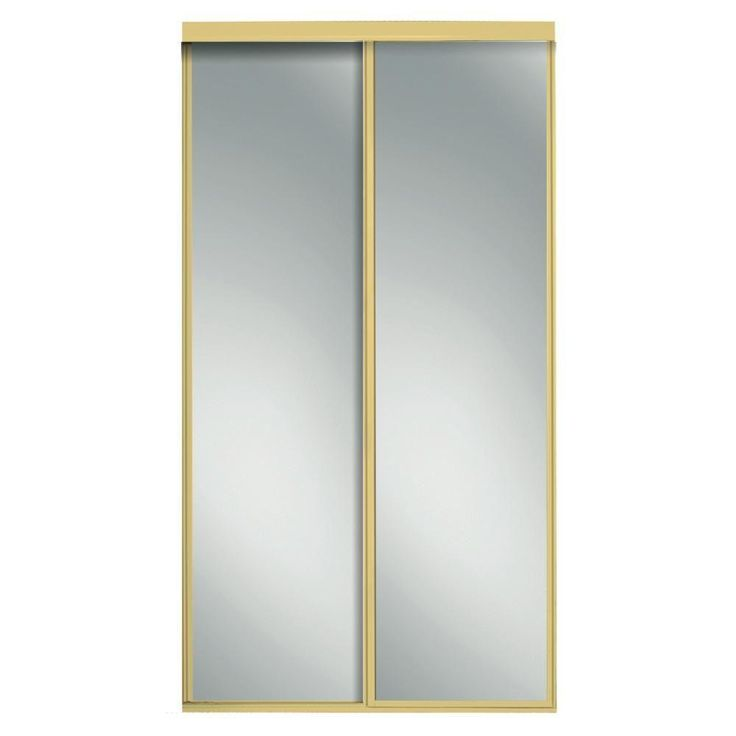 Contractors Wardrobe 84 in. x 81 in. Concord Mirrored Bright Gold Aluminum Interior Sliding Door