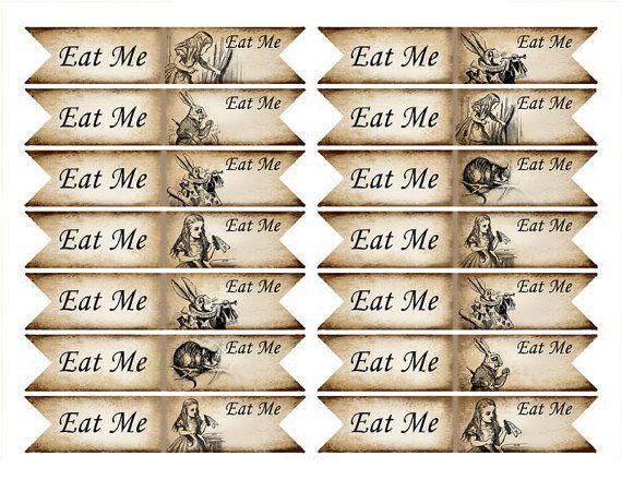 Alice In Wonderland Eat Me Cupcakes Eat Me Cupcake Flag Alice In Wonderland Cupcake Printable