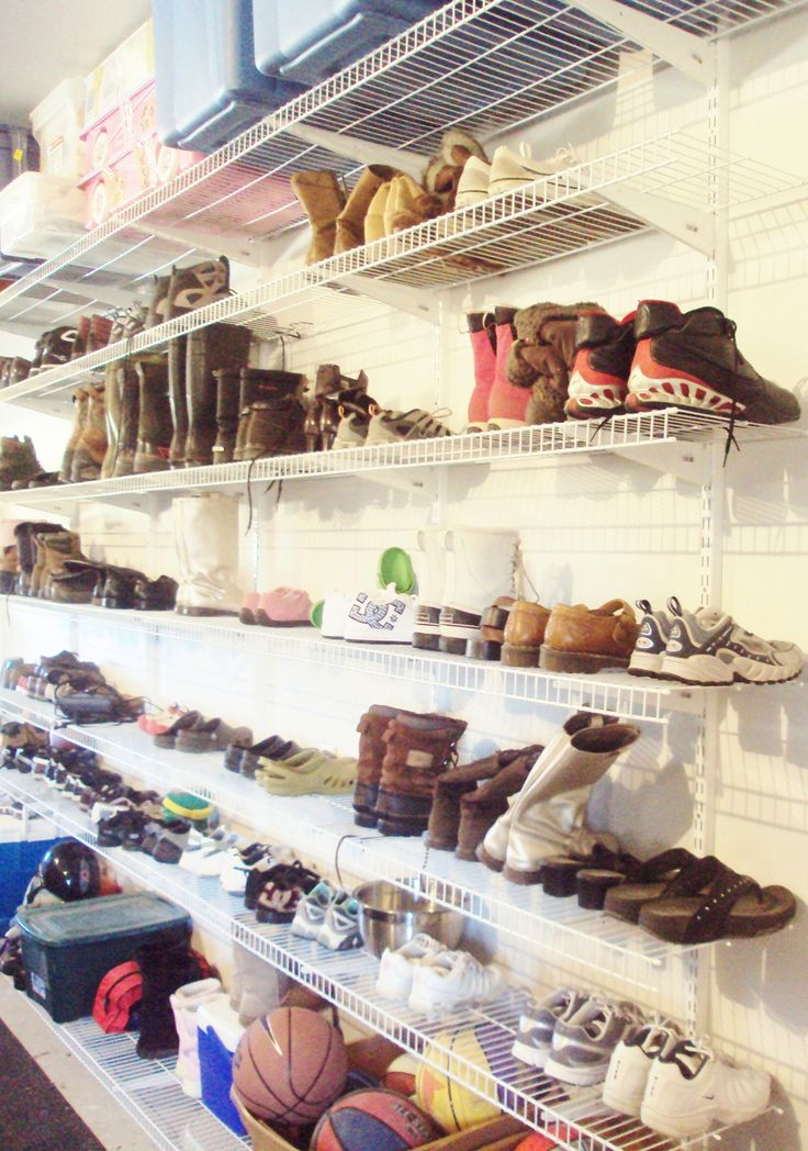 Garage Shoe Shelves.  We have built these shelves in our last 3 homes.  Clear out a wall in your garage and install white wire shelving from Lowes.  From winter boots, to rain boots, to church shoes and tennis shoes.  Keep hand me downs stored in a tote on a high shelf out of the way.