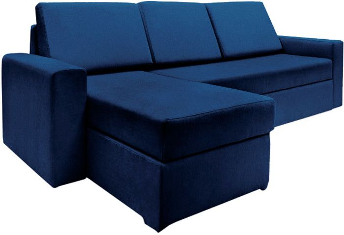 Haven Midnight Blue Fabric Sectional Sofa Bed
