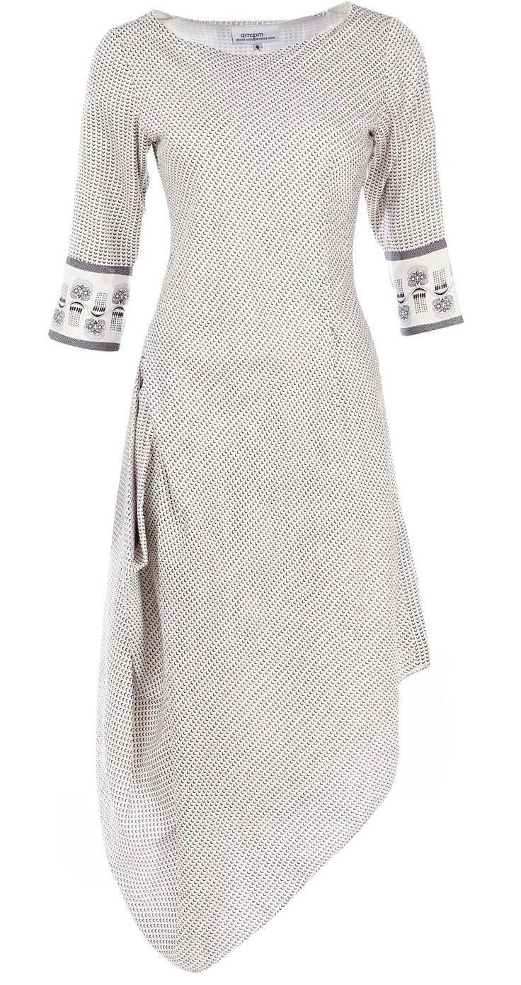 Ivory and black printed drape dress by AM:PM. Shop now at perniaspopupshop.com