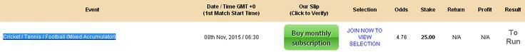 Cricket / Tennis / Football (Mixed Accumulator) @ 4.76 Join Now : http://www.premiumtipping.com/