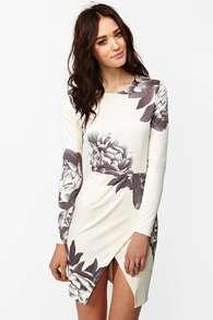 White Long Sleeve Random Floral Print Wrap Dress -SheIn(Sheinside)