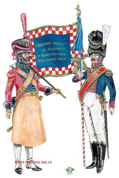 zappatore e porta stendardo dei granatieri della guardia reale del regno di Napoli