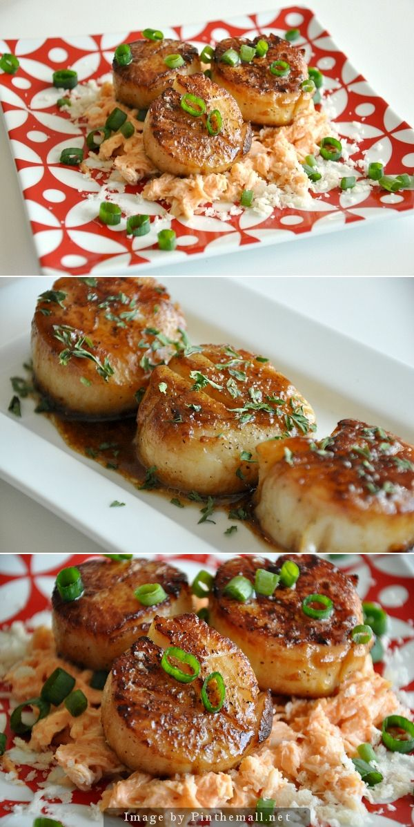 Sapporo Seared Scallops & Spicy Kani Salad - #scallops #seafood