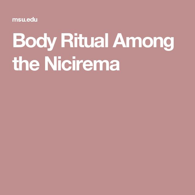 Body Ritual Among The Nicirema