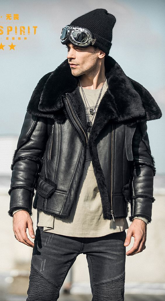 7eaeda394c6 Men s Shearling Jacket Turmeric Wool B3 Flight Jacket Short Fur Leather  Jacket Australia Wool Mans Sheepskin Aviator Fur Jacket Super lapel White  lining