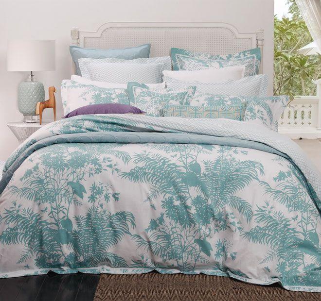 Florence Broadhurst Shadow Floral Quilt Cover Set Range Teal   <3