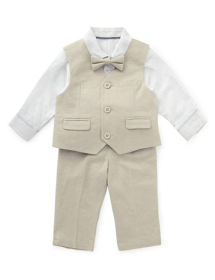 Linen Blend Christening Waistcoat Outfit