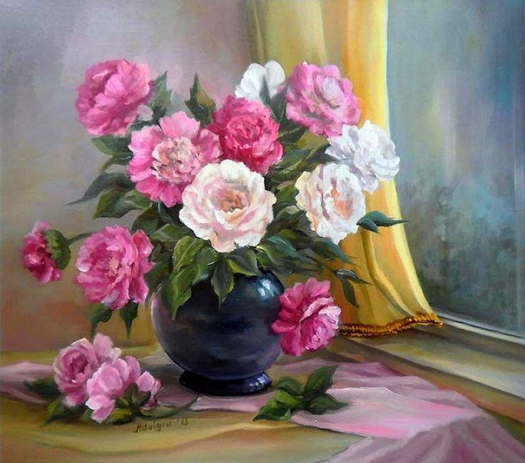 Pintura al Óleo Flores, Anca Bulgaru   Bodegones y Paisajes Cuadros al Óleo