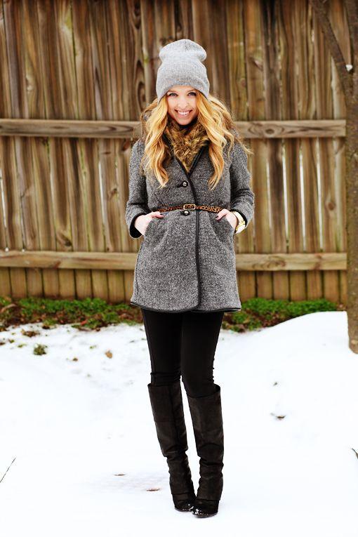 winter cute! Boots: Vince Camuto, Pants: Target, Coat: Zara, Belt: JCrew, Faux fur: F21, Watch: Gift, Hat: Walmart