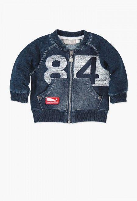 Fleece jacket denim stretch for baby boy