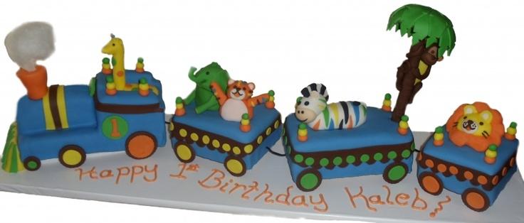 Animal Train Birthday Cake