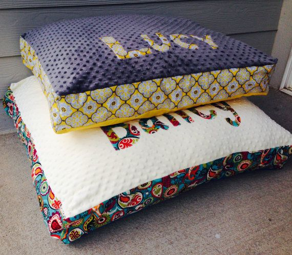 Personalized Custom Monogrammed Name Dog Bed Pillow with Pillow Insert Included on Etsy, $65.00
