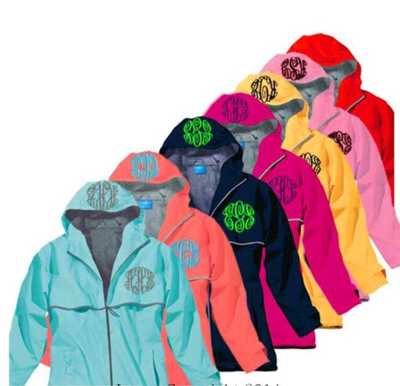 Monogrammed Rain Coat Jacket Womens by thepurplepetunia on Etsy