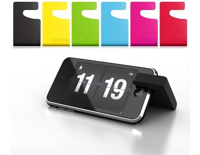 iPhone movie stand: Occam's razor put to good use.  It's called Flip Clock app...: Geek Gadgets, Moviepeg Iphone, Alarm Clock, Gifts Ideas, Moviepeg Stands, Iphone Stands, Movie Stands, Iphone Movie, Occam Razor