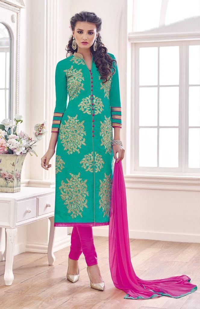RapidDukan Un-Stitched Sky Blue Color Straight Salwar Suit Dupatta Material||SF603
