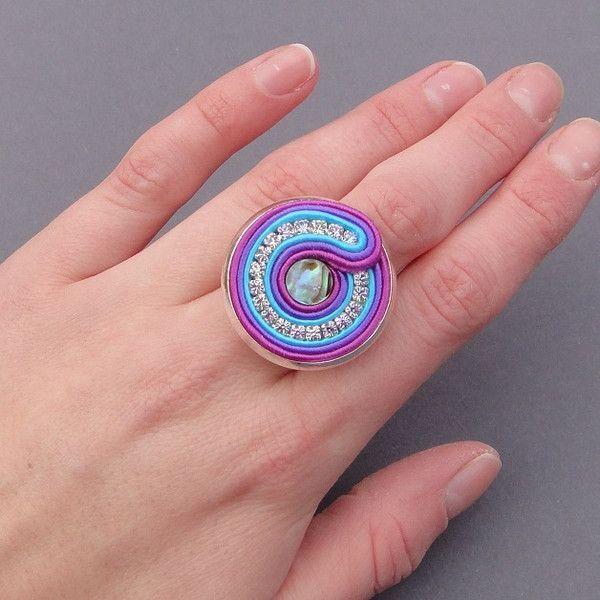 Agama pierścionek sutasz z muszlą Paua  w Blue Butterfly na DaWanda.com