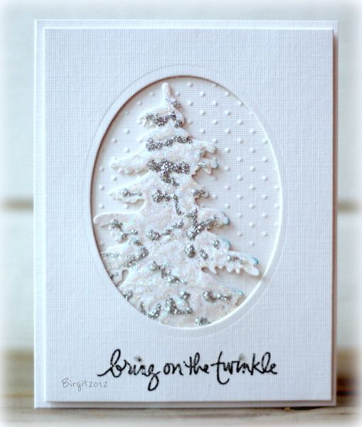 "Ever see a card and think, ""Wow! I'd like to get that one in my mailbox?!"" This one from Birgit Edblom ranks right up there for me. I love that tree! The words are from the Magic of Christmas by Ali Edwards stamp set from TechniqueTuesday.com."