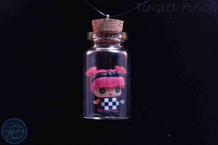 Quirky Glass Vial Necklace with MixieQ Figurine on Leather by TangledFusion on Etsy