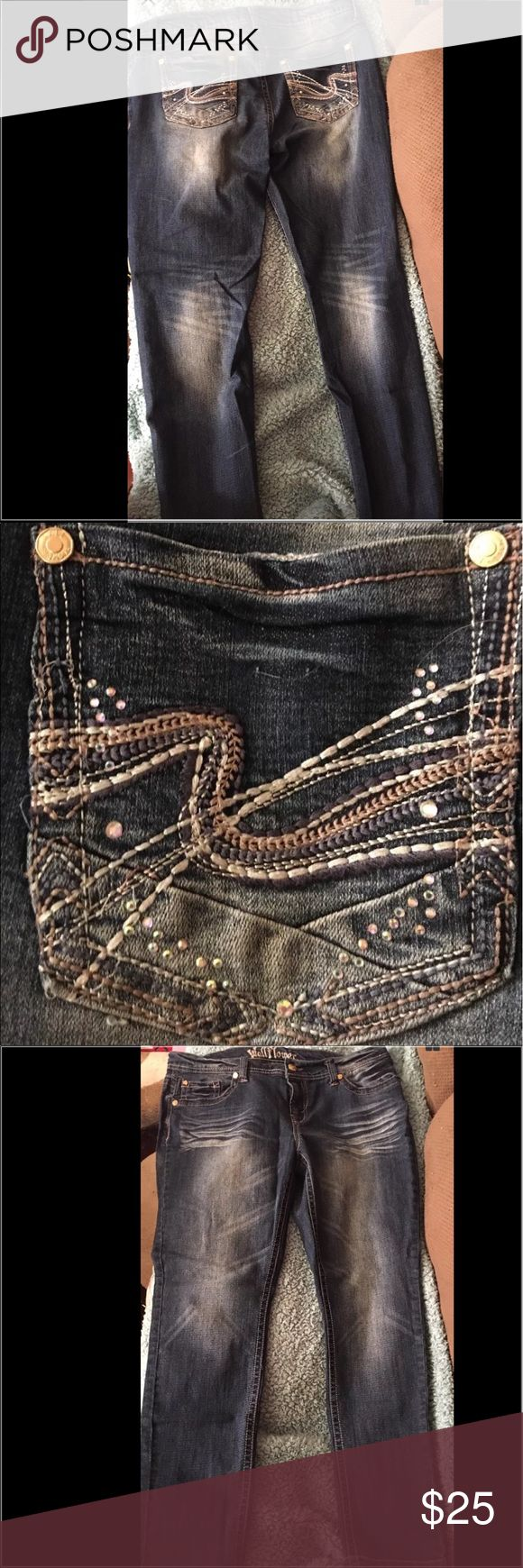 Wallflower Jeans Bling Stretch Stonewashed Gorgeous. Distressed on rear pocket. Stone washed & bling! Stretch. Wallflower Jeans Straight Leg