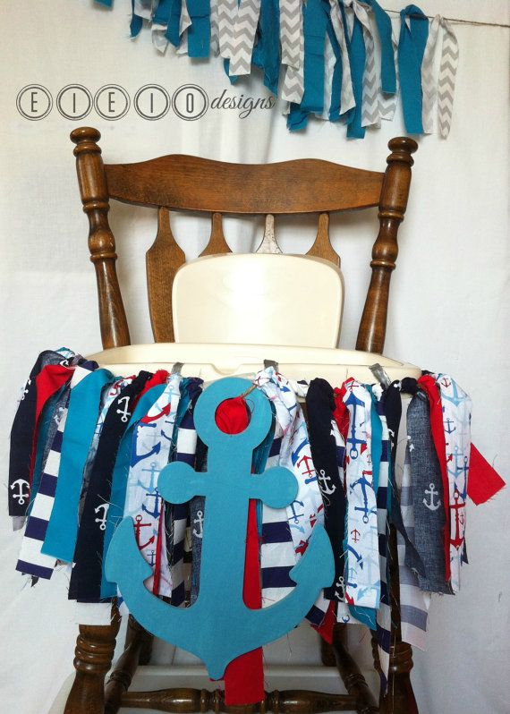 """Nautical """"Little Sailor"""" Birthday party high chair banner: hand made from fabric and a giant wooden chipboard painted anchor tied with twine. This is just the cutest addition to your beach or nautical-themed birthday party. Now just to find the perfect sailor hat... ;)"""
