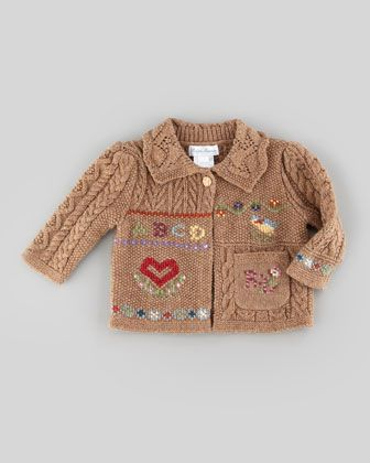 Ralph Lauren Knit Sampler Cardigan, Scottish Sampler, 3-9 Months