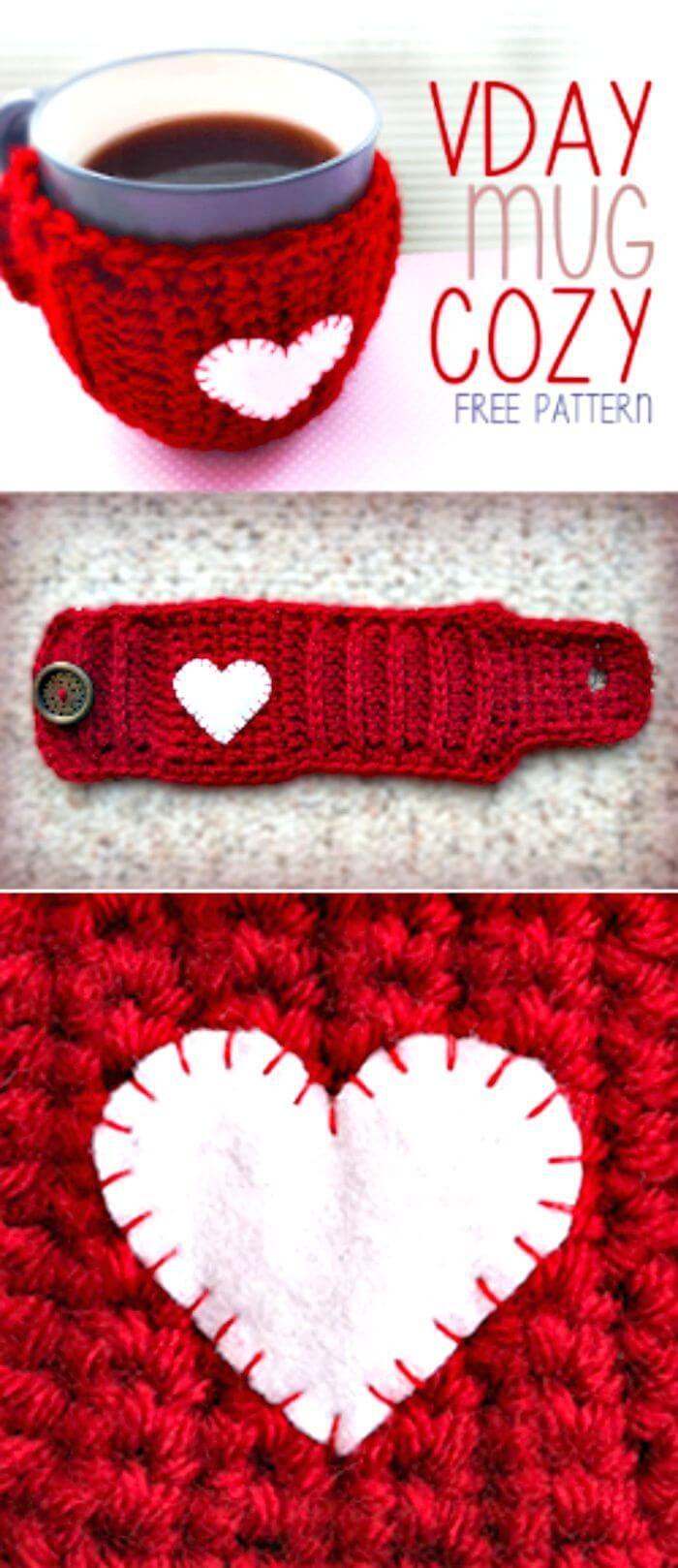 Crochet Valentine's Day Mug Cozy – Free Pattern - 94 Free Crochet Patterns for Valentine's Day Gifts - DIY & Crafts