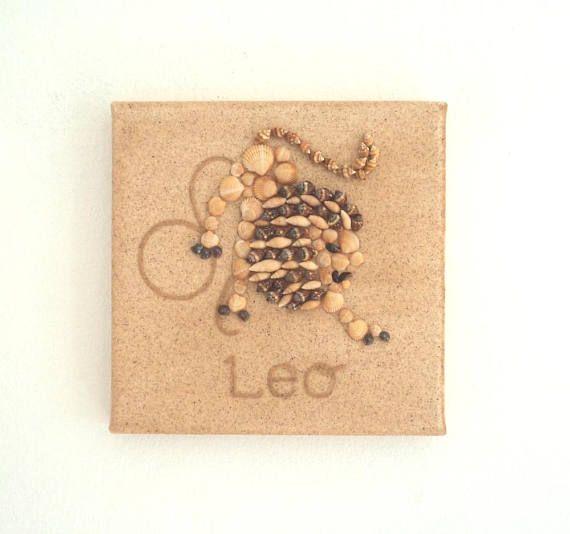 Leo Star Sign, Seashell Mosaic on Sand, Artwork with Seashells and Sand, Mosaic Art, 3D Art Collage, Home Decor, Wall Art Decor, Gift Idea #ArtworkwithSeashells #mosaiccollage #seashellmosaic #homedecor #walldecor #3D