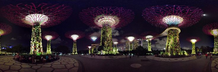 Gardens By The Bay, in Singapore: Nice show and lighting in this place you would must visit. At the bottom of the image you can see the Marina Bay Hotel. 360º shoot.