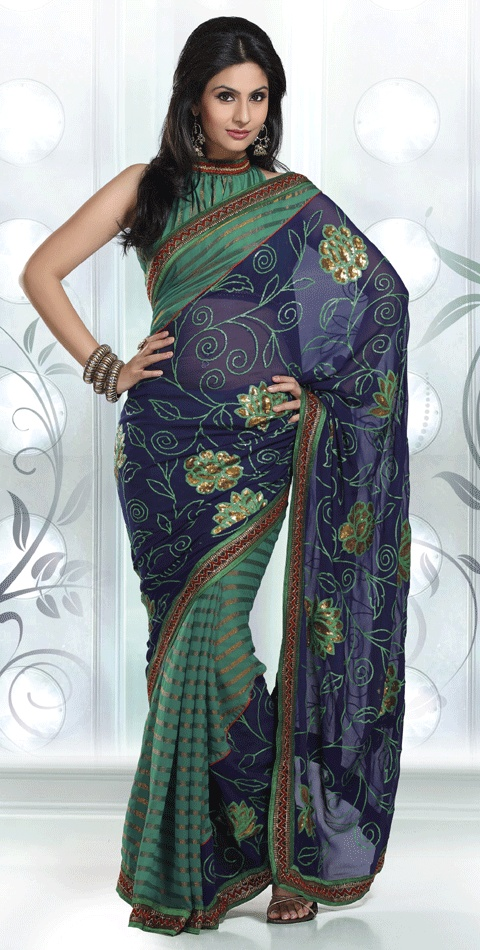 I love saris! This one has the gorgeous colours of a peacock - my favourite colour combination.  :D