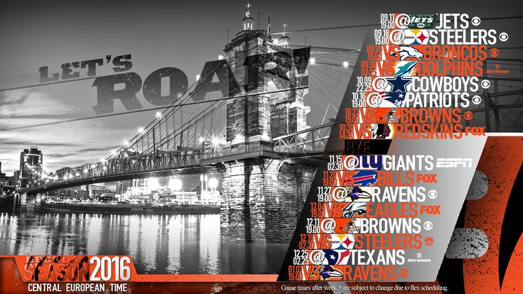 Schedule wallpaper for the Cincinnati Bengals Regular Season, 2016. All times CET. Made by #tgersdiy