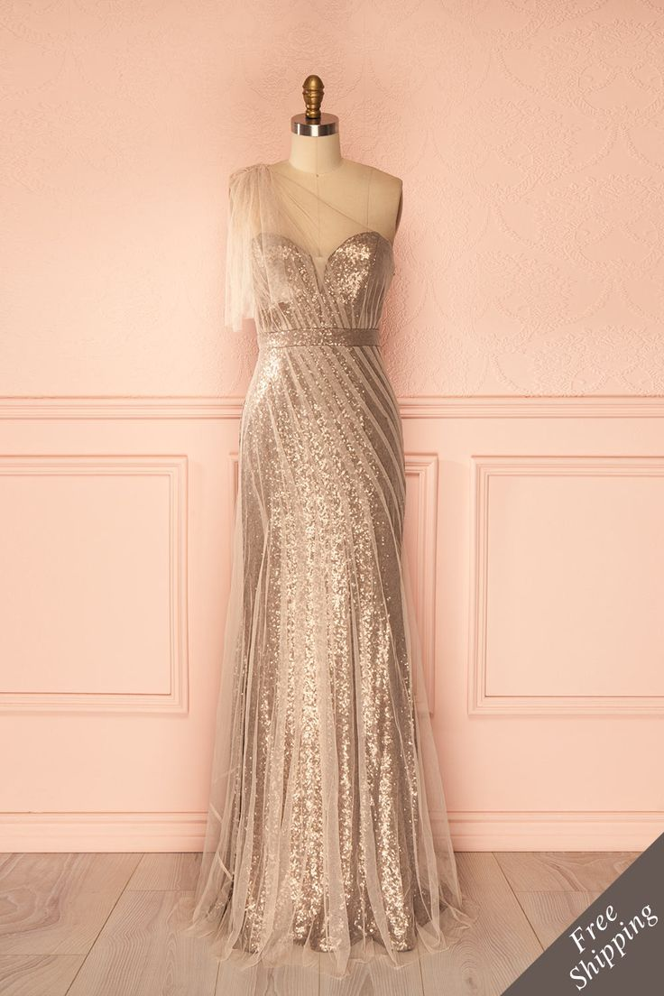 Iunn - Gold sequins and beige tulle bustier dress with shoulder drape