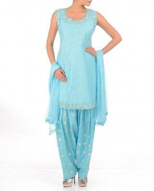#Exclusivelyin, Baby Blue Suit with Silver Dots, Punjabi suit, cotton