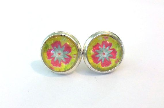 Silver Cabochon Stud Earrings - Pink & Green Flower