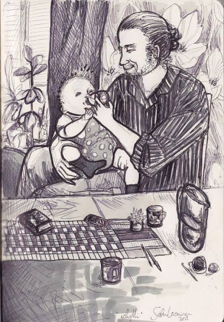 Herkkupurkki: piirros, luonnos, father and baby By: Satu Laaninen