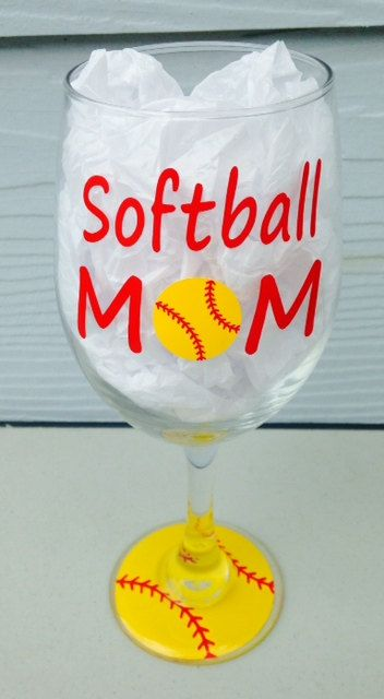 Softball MOM Players Number Large Wine Glass by CrissCrossCraft $12.95