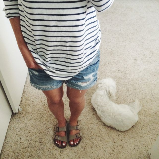 Gap tee, American Eagle shorts, Birkenstock sandals!! My true summer uniform!!!