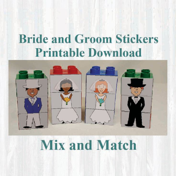 Bride and groom Stickers, Fridge magnets, Building blocks. Fits on Lego, Instant digital download Printable by MoonGloCreations on Etsy