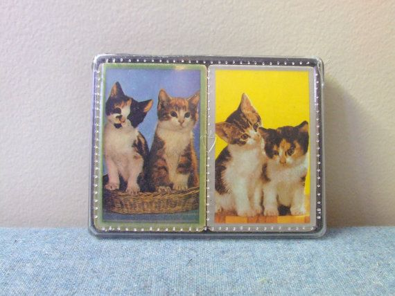 2 complete sets of Cats Playing Cards  Made in Hong by TheOddOwl