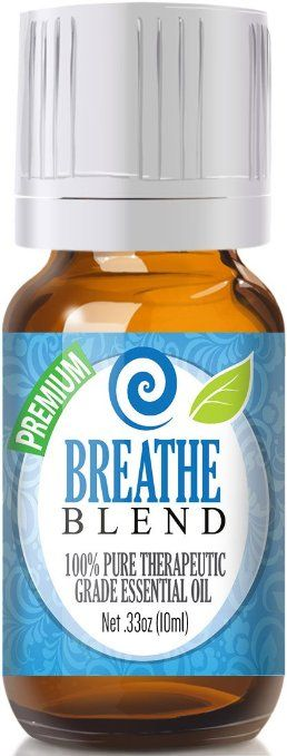 Breathe Blend 100% Pure, Best Therapeutic Grade Essential Oil - 10ml - Comparable to Doterra Breathe, Young Living Raven, Eden's Exhale, Inhale, Respiratory and Sinus Relief - Breathe Easy / Easier - Peppermint, Rosemary, Lemon, Eucalyptus