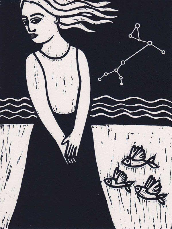 "Bianca Tschaikner (Austria) ""Ariadne"" 25x37 cm Linocut"
