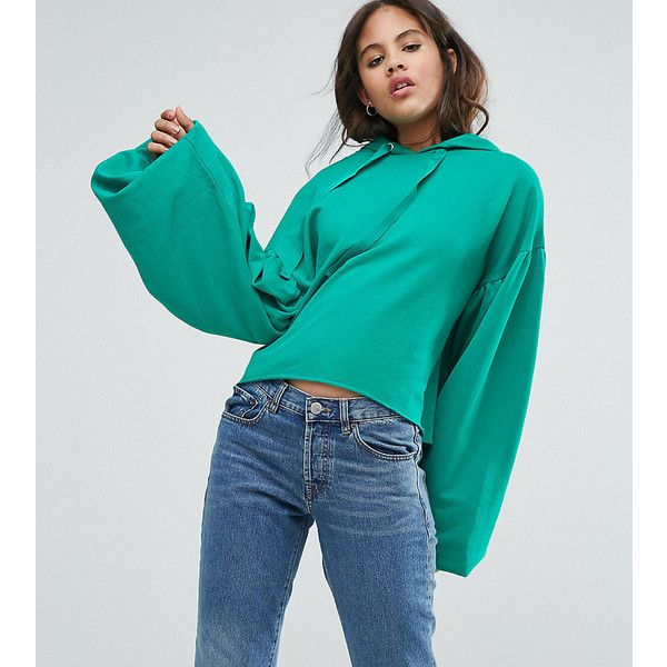 ASOS TALL Hoodie with Dramatic Balloon Sleeve ($40) ❤ liked on Polyvore featuring tops, hoodies, green, sweatshirt hoodies, asos, green hoodies, blue hooded sweatshirt and tall hoodies