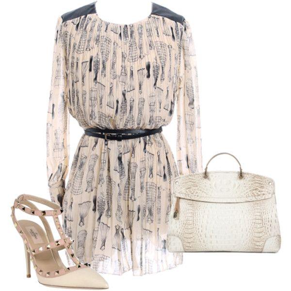 Vestido corto ROMWE, created by #smilinglook on #polyvore. #moda #style #Furla #Valentino