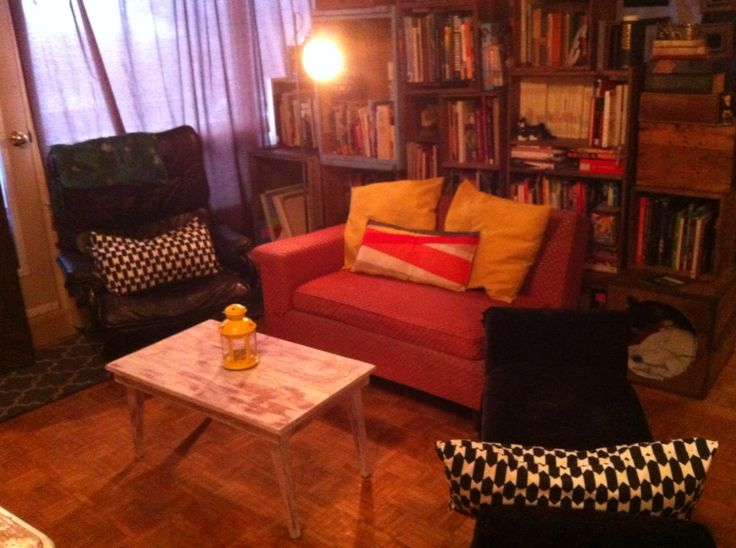 Vintage couch accented with my grandmpa's couch
