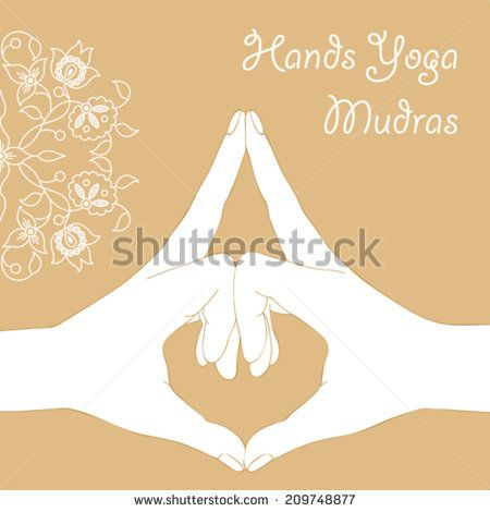 hands folded in yoga mudra on a beige background  - stock vector