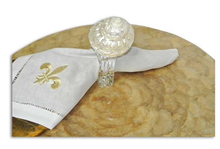 """Napkin Ring, 3"""" Undusa with Lucite Ring / by Pearl Dragon Collections #pearldragon #interiordesign #style #design #homedecorations #inspiration #capiz #tabletops #livingroom #diningroom #classic #home #centerpiece #interior #table #tray #platter #bowl #napkinholder #napkinring #tabledecor"""