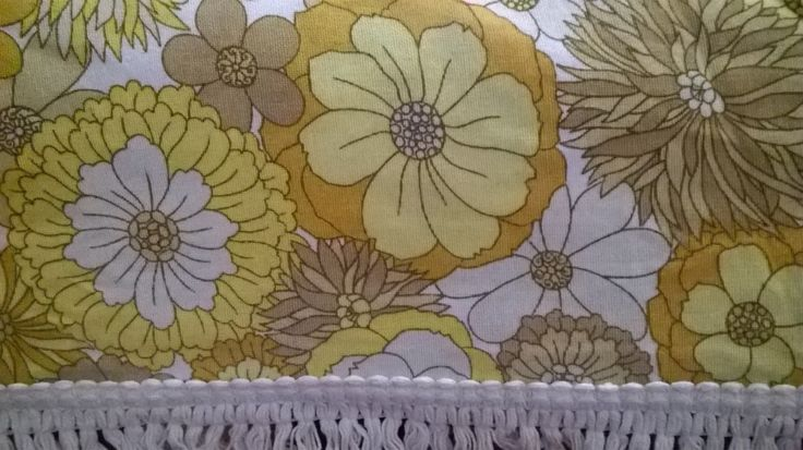 SOLD Retro double bedspread / large fringed throw in yellow by Marks and Spencer St Micheal by BlindDogVintage on Etsy