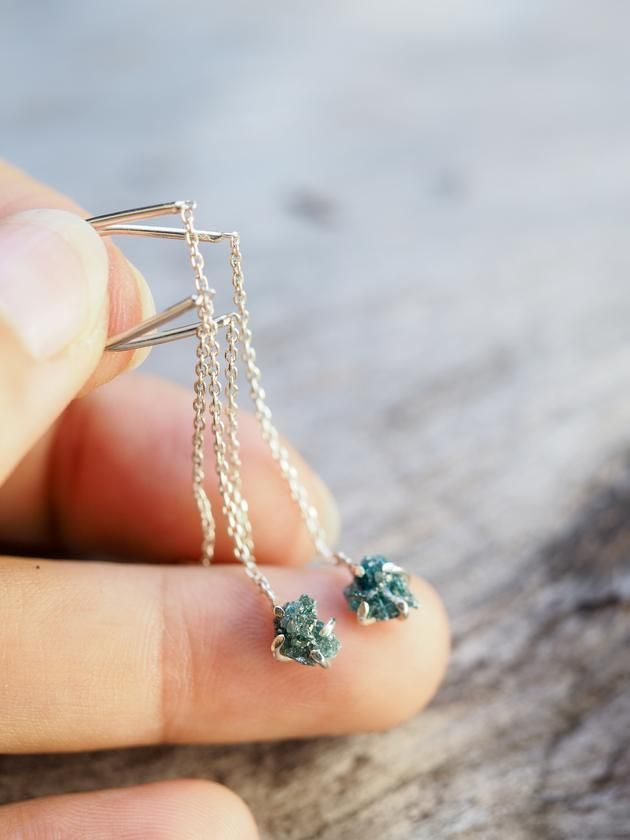 Dangling Rough Blue Diamond Earrings An everyday eye catcher, rustic style. The blue of the diamonds draws the attention.